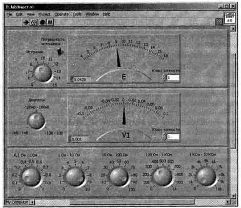 ...управления и отображения результатов эксперимента: источник сигнала, панель вольтметра, магазин сопротивлений.