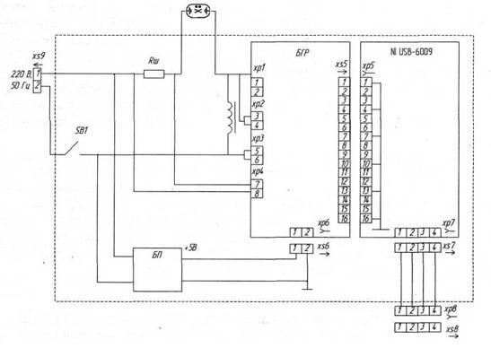 ...1, лицевая панель виртуального прибора на рис.2. Рис.1. Электрическая. блок питания. принципиальная схема.